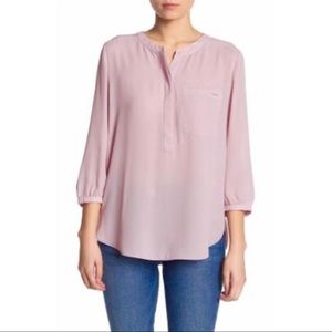 NYDJ • Dusty Rose Button Up Pleated Blouse